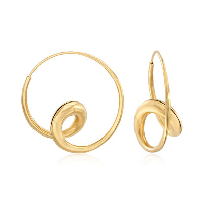 C. 1990 Vintage 18kt Yellow Gold Double-Loop Hoop Earrings , , default
