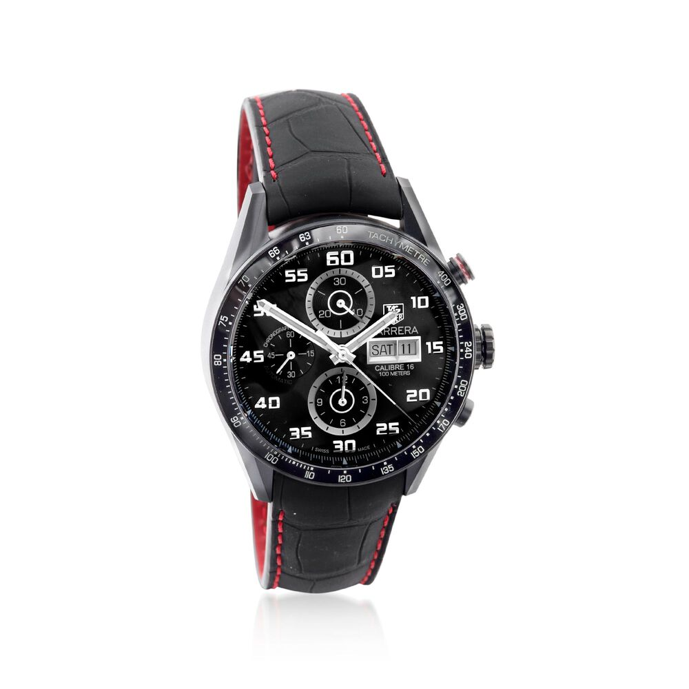 93a1f21dd5db TAG Heuer Carrera Chrono Day-Date Men s Black Titanium Over Stainless Steel  Watch