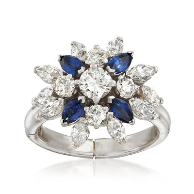 C. 1970 Vintage 2.00 ct. t.w. Diamond and .80 ct. t.w. Sapphire Cluster Ring in 14kt White Gold