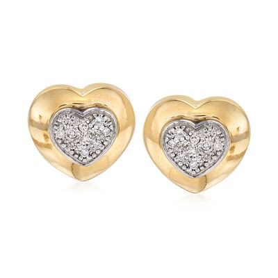 C. 1980 Vintage .35 ct. t.w. Diamond Heart Earrings in 14kt Yellow Gold, , default