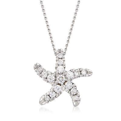 Roberto Coin .48 ct. t.w. Diamond Starfish Necklace in 18kt White Gold
