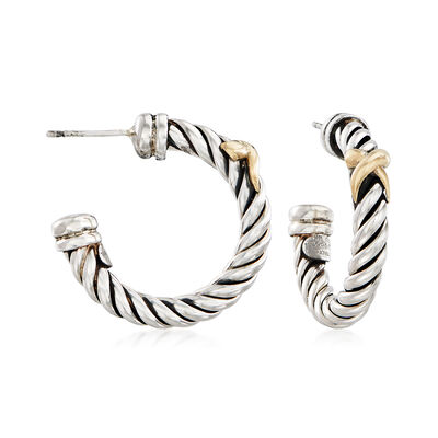 "Phillip Gavriel ""Italian Cable"" Sterling Silver Hoop Earrings with 18kt Gold, , default"