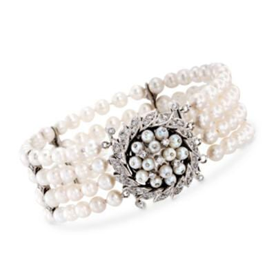 C. 1970 Vintage 5mm Cultured Pearl and 1.50 ct. t.w. Diamond Bracelet in 14kt White Gold, , default