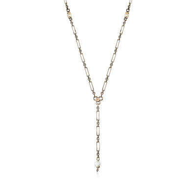 C.1950 Vintage 14kt White Gold Link Chain Necklace with Pearls, , default