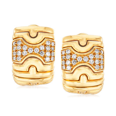 C. 1980 Vintage Bulgari .65 ct. t.w. Diamond Shield Clip-On Earrings in 18kt Yellow Gold