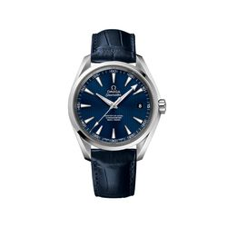 Omega Seamaster Men's 41.5mm Stainless Steel Watch With Blue Dial and Leather Strap, , default