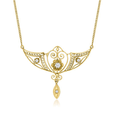 C. 1930 Vintage .10 ct. t.w. Diamond Filigree Necklace in 14kt Yellow Gold