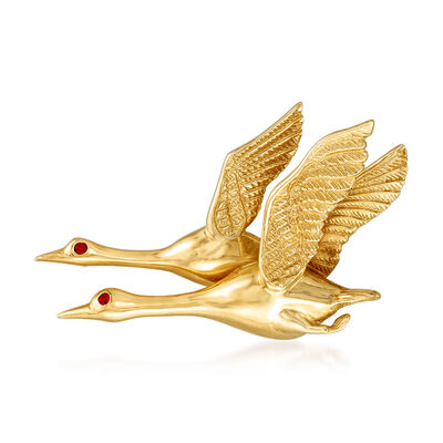 C. 1980 Vintage 14kt Yellow Gold Pair of Geese Pin with Ruby Accents, , default