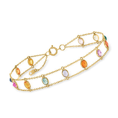 C. 1990 Vintage 3.25 ct. t.w. Multicolored Sapphire Bracelet in 18kt Yellow Gold