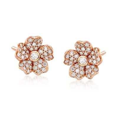 "Mikimoto ""Cherry Blossom"" .36 ct. t.w. Diamond Floral Earrings in 18kt Rose Gold, , default"