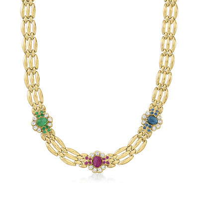 C. 1980 Vintage 6.30 ct. t.w. Multi-Gemstone Link Necklace with 1.25 ct. t.w. Diamonds in 14kt Yellow Gold