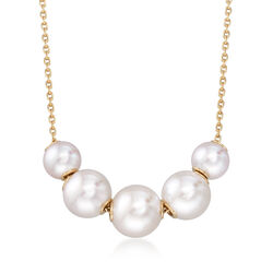 Mikimoto 5.5-7.5mm A+ Akoya Pearl Necklace in 18kt Yellow Gold, , default