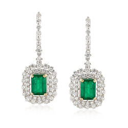C. 1990 Vintage 2.00 ct. t.w. Emerald and 2.00 ct. t.w. Diamond Drop Earrings in 14kt White Gold, , default