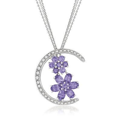 C. 1990 Vintage 3.60 ct. t.w. Tanzanite and .35 ct. t.w. Diamond Moon Necklace in 14kt White Gold