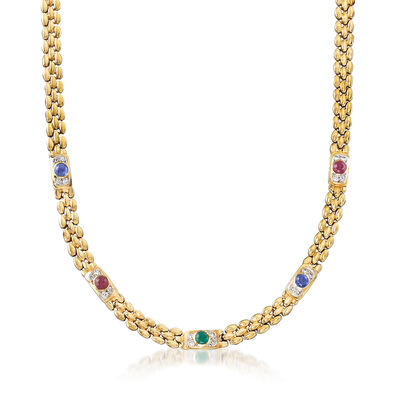 C. 1980 Vintage 2.65 ct. t.w. Multi-Gemstone and .50 ct. t.w. Diamond Station Necklace in 14kt Yellow Gold