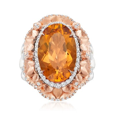 C. 1990 Vintage 9.25 Carat Citrine Ring with .65 ct. t.w. Diamonds in 18kt Two-Tone Gold