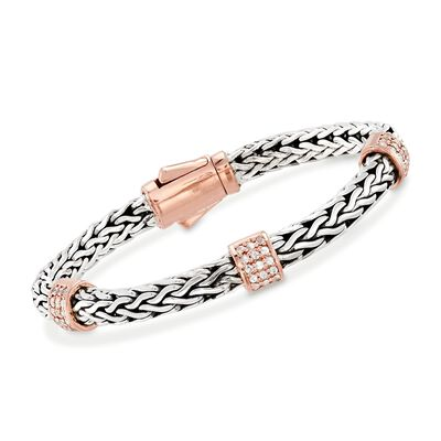 "Phillip Gavriel ""La Vie En Rose"" .72 ct. t.w. White Sapphire Station Bracelet in Sterling Silver and 18kt Rose Gold"