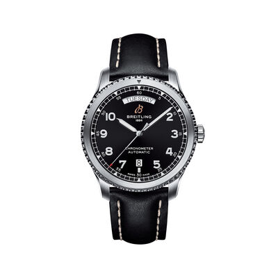 Breitling Navitimer 8 Men's 41mm Day-Date Stainless Steel Watch - Black Leather Strap, , default