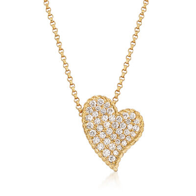 "Roberto Coin Princess ""Tiny Treasures"" .39 ct. t.w. Diamond Heart Necklace in 18kt Yellow Gold, , default"