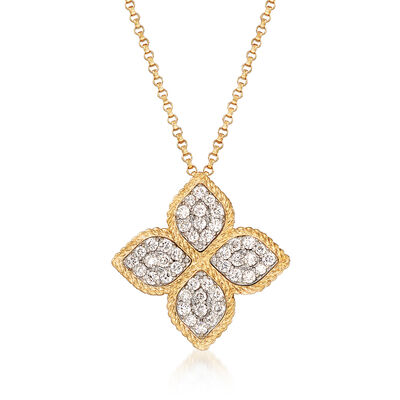 "Roberto Coin ""Princess"" .45 ct. t.w. Diamond Flower Necklace in 18kt Yellow Gold"