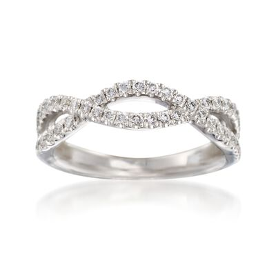 Henri Daussi .35 ct. t.w. Diamond Twisted Wedding Ring in 18kt White Gold