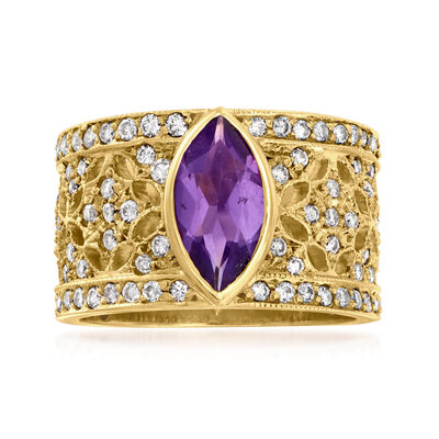 C. 1980 Vintage 1.00 Carat Amethyst and 1.30 ct. t.w. Diamond Floral Ring in 14kt Yellow Gold