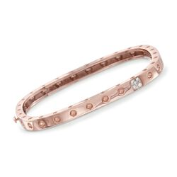 "Roberto Coin ""Pois-Moi"" 18kt Rose Gold Square Bangle Bracelet With Diamond Accents, , default"