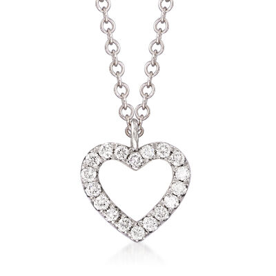 Gabriel Designs Diamond-Accented Heart Pendant Necklace in 14kt White Gold