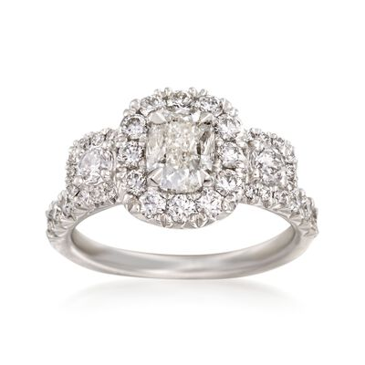 Henri Daussi 2.12 ct. t.w. Diamond Three-Stone Engagement Ring in 18kt White Gold, , default