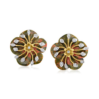 C. 1980 Vintage Unakite Flower Earrings with .30 ct. t.w. Diamonds in 14kt Yellow Gold