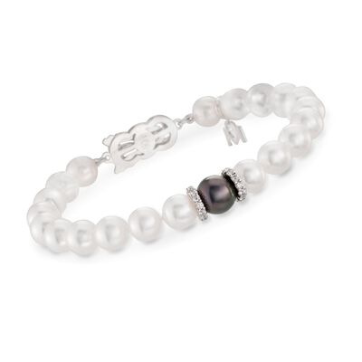"Mikimoto ""Everyday Essentials"" 7-7.5mm A+ Akoya and 10mm Black South Sea Pearl Bracelet with Diamonds in 18kt White Gold, , default"
