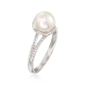 Mikimoto A+ Akoya Pearl and .19 Carat Total Weight Diamond Ring in 18-Karat White Gold. Size 7, , default