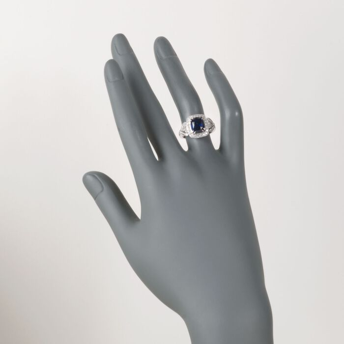 C. 2000 Vintage 3.57 Carat Sapphire and 1.15 ct. t.w. Diamond Ring in 18kt White Gold