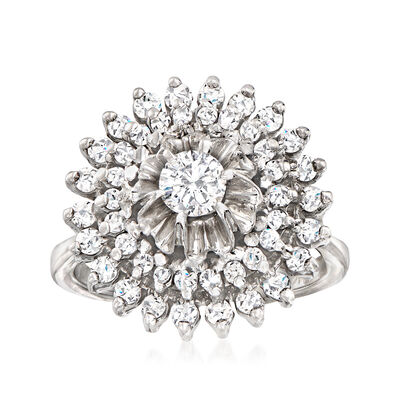 C. 1970 Vintage .90 ct. t.w. Diamond Cluster Ring in 14kt White Gold