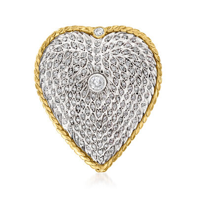 C. 1980 Vintage 1.85 ct. t.w. Diamond Heart Pin in Sterling Silver and 14kt Yellow Gold