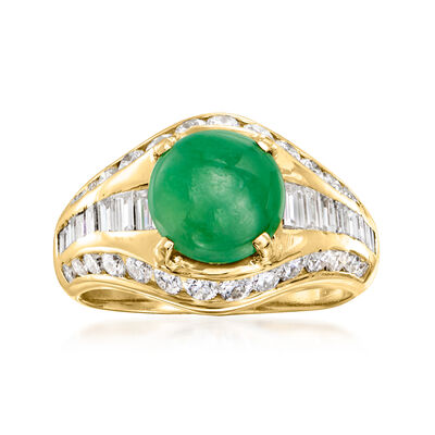 C. 1980 Vintage Certified Jade and .80 ct. t.w. Diamond Ring in 18kt Yellow Gold