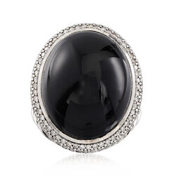 C. 2000 Vintage David Yurman Black Onyx and 1.10 ct. t.w. Diamond Ring in Sterling Silver, , default