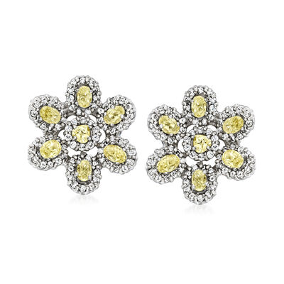 C. 1990 Vintage 3.80 ct. t.w. Yellow and White Diamond Flower Earrings in 14kt White Gold