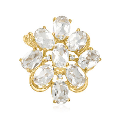 C. 1990 Vintage 5.40 ct. t.w. White Beryl Cluster Ring with Diamond Accents in 14kt Yellow Gold