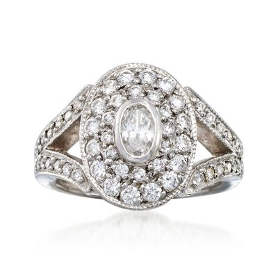 C. 2000 Vintage 1.15 ct. t.w. Diamond Oval-Top Ring in Platinum, , default