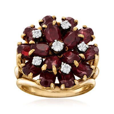 C. 1960 Vintage 8.25 ct. t.w. Garnet and .35 ct. t.w. Diamond Cluster Ring in 14kt Yellow Gold, , default