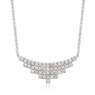 Gabriel Designs .43 ct. t.w. Diamond Small Bib Necklace in 14kt White Gold, , default
