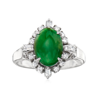 C. 1990 Vintage Jade and .49 ct. t.w. Round and Baguette Diamond Ring in Platinum