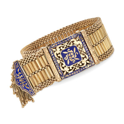 C. 1940 Vintage Blue Enamel Tassel Bracelet in 14kt Yellow Gold, , default