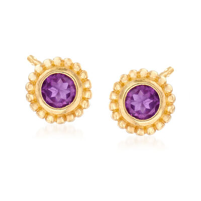 "Phillip Gavriel ""Popcorn"" .40 ct. t.w. Amethyst Stud Earrings in 14kt Yellow Gold, , default"