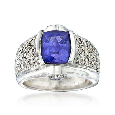C. 1980 Vintage 2.70 ct. t.w. Tanzanite and 1.70 ct. t.w. Diamond Ring in 14kt White Gold, , default