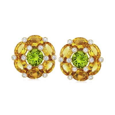C. 1980 Vintage 12.00 ct. t.w. Citrine and 4.00 ct. t.w. Peridot Flower Earrings with .75 ct. t.w. Diamonds in 18kt Yellow Gold