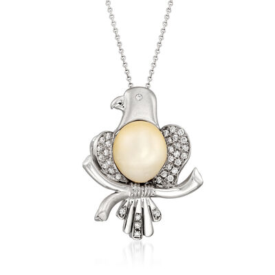 C. 1980 Vintage 11x10mm Cultured Pearl and .40 ct. t.w. Diamond Eagle Pin/Pendant Necklace in 18kt White Gold
