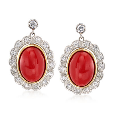 C. 1970 Vintage Coral and 1.00 ct. t.w. Diamond Earrings in 18kt Yellow Gold and Platinum, , default