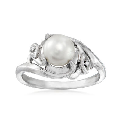 C. 1990 Vintage 6.5mm Cultured Pearl Ring with Diamond Accent in 14kt White Gold, , default